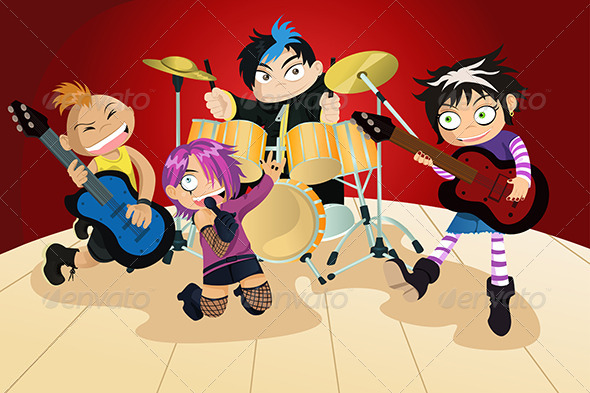 GraphicRiver Rock Band of Four Little Kids 5642772