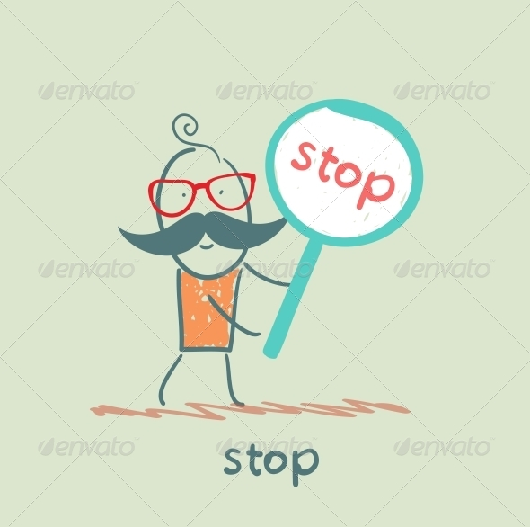 GraphicRiver Man Holding Stop Sign 5642816