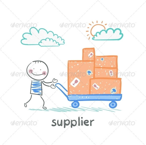 GraphicRiver Supplier Walks with a Cart of Goods 5642915