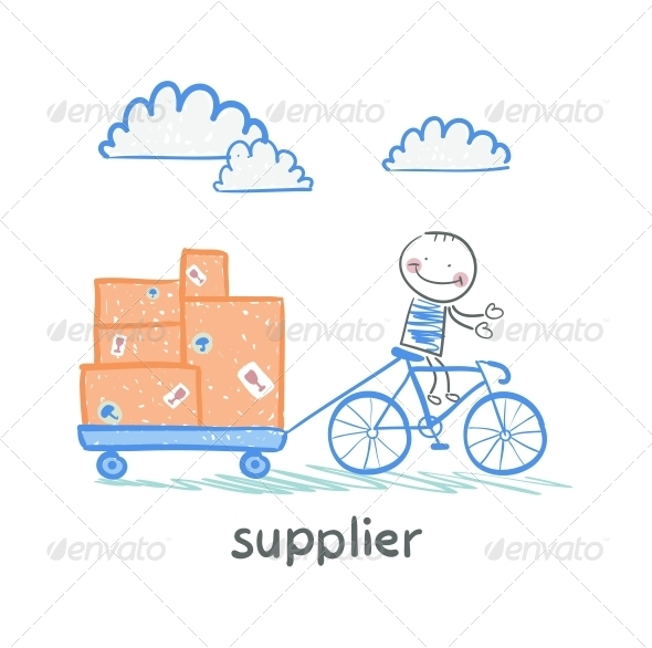 GraphicRiver Supplier Rides a Bike with a Cart of Goods 5642916