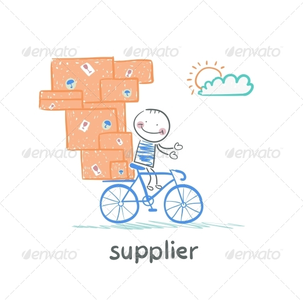GraphicRiver Supplier Rides a Bike with the Goods 5642917