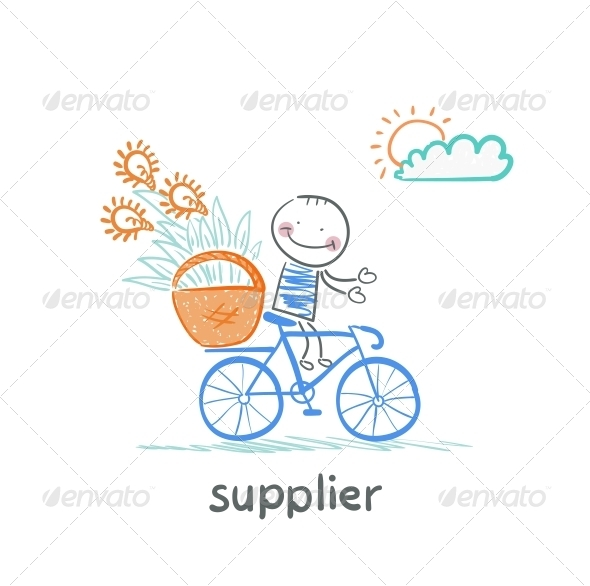 GraphicRiver Supplier Carries a Bike Basket with Goods 5642918