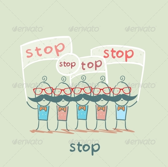 GraphicRiver People with Stop Signage 5642922