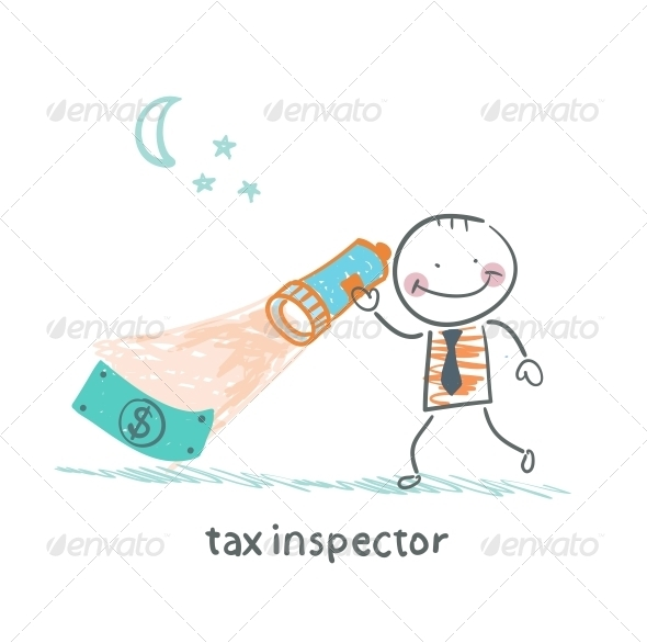 GraphicRiver Tax Inspector with a Lantern Looking for Money 5642936