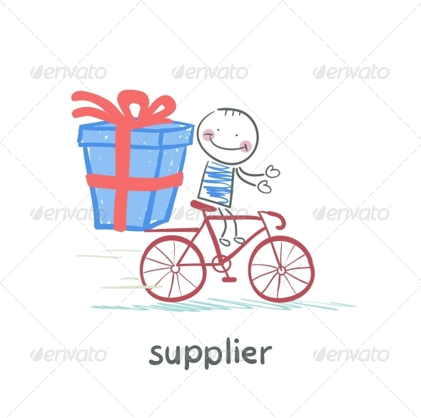 GraphicRiver Supplier Rides a Bike with the Goods 5642985