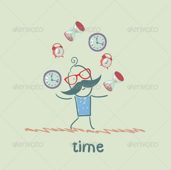 GraphicRiver Man Juggles Clocks 5643003