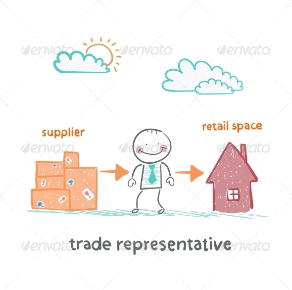 GraphicRiver Trade Representative with the Product and Sales 5643009