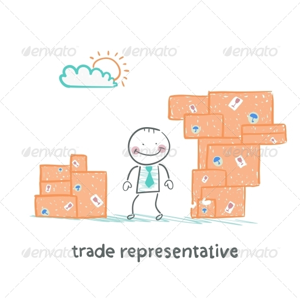 GraphicRiver Trade Representative Standing with Boxes of Goods 5643010
