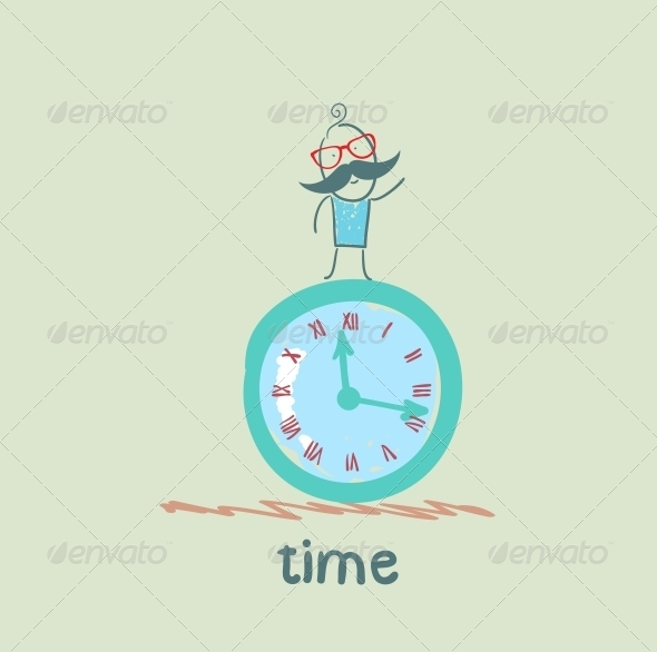 GraphicRiver Man Stands on the Clock 5643016