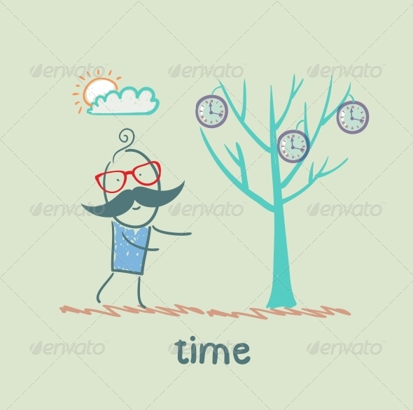 Man Grows a Tree with Clock
