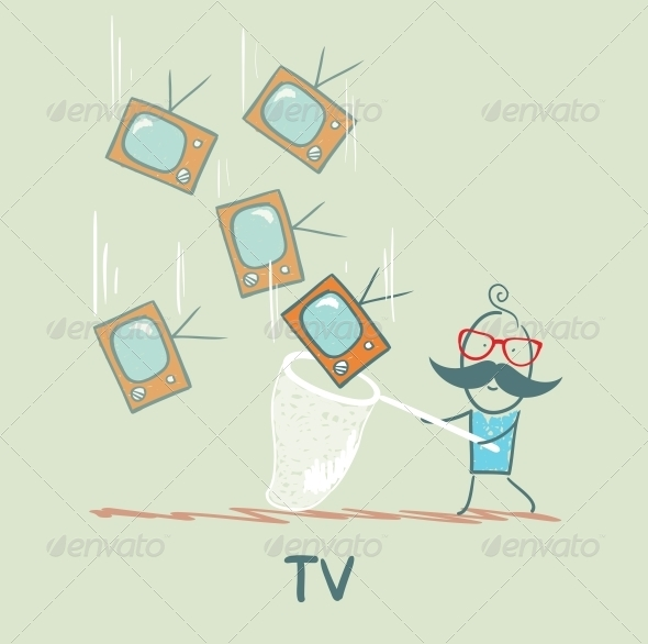GraphicRiver Man Catching Televisions 5643303