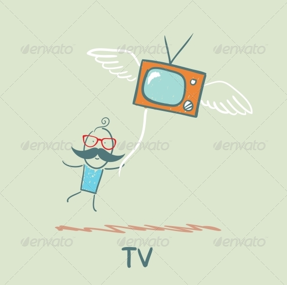 GraphicRiver Man Flying with TV 5643305