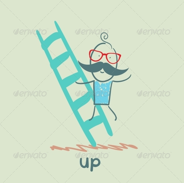 GraphicRiver Man Climbs Ladder 5643399