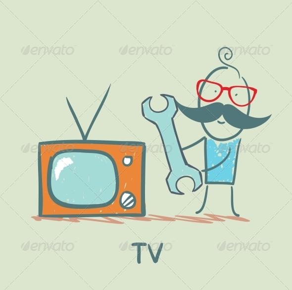 GraphicRiver TV Repair Man 5643403