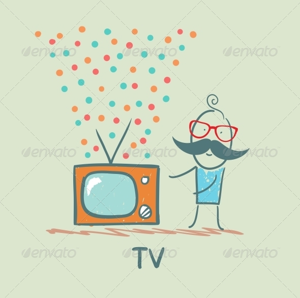 GraphicRiver Man Standing Next to the Best TV 5643409