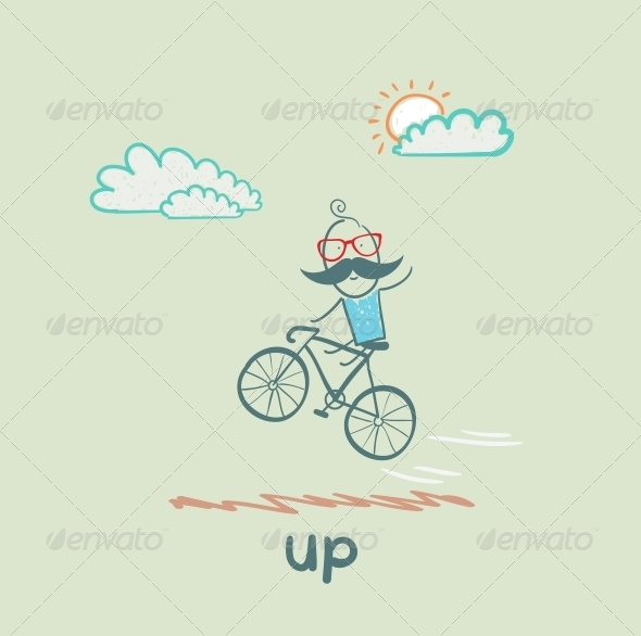 GraphicRiver Man Flying on a Bicycle 5643420