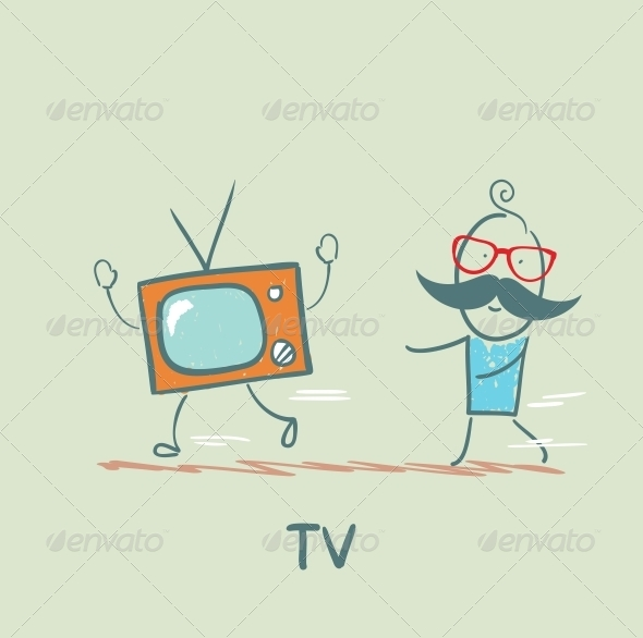 GraphicRiver Man Catches up with TV 5643453