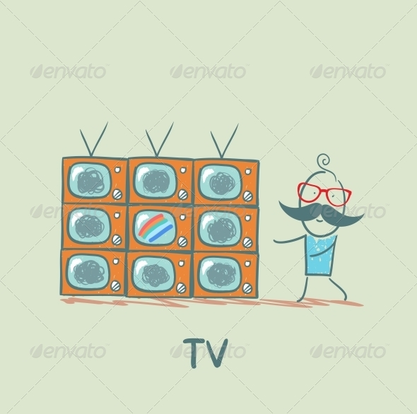 GraphicRiver Man Watching the Best TV 5643465