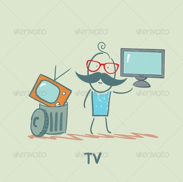 GraphicRiver Man Throws an Old TV and Buy a New 5643471