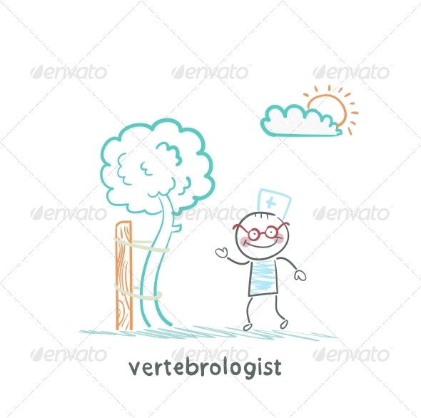 GraphicRiver Vertebrologist Standing Near Tree with a Crooked 5643574