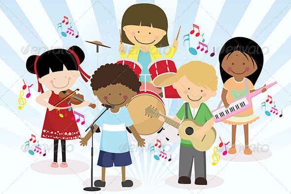 GraphicRiver Music Band of Four Little Kids 5643599