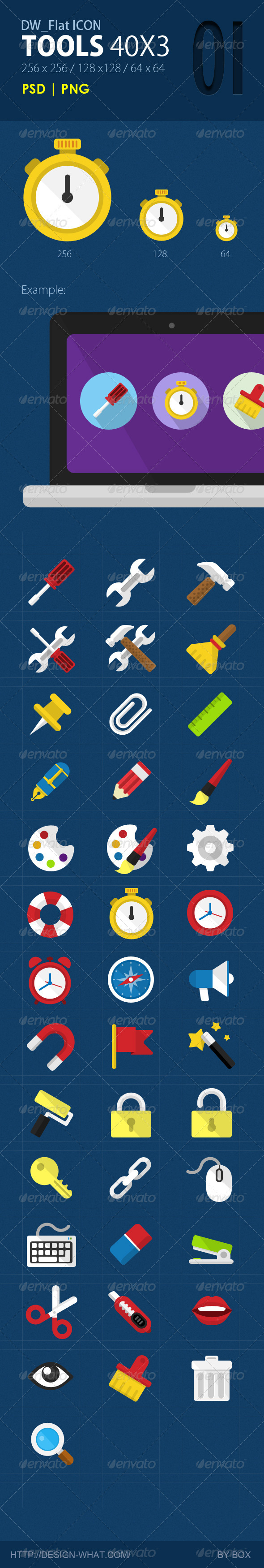 GraphicRiver 40 Flat Icons Tools 5643715
