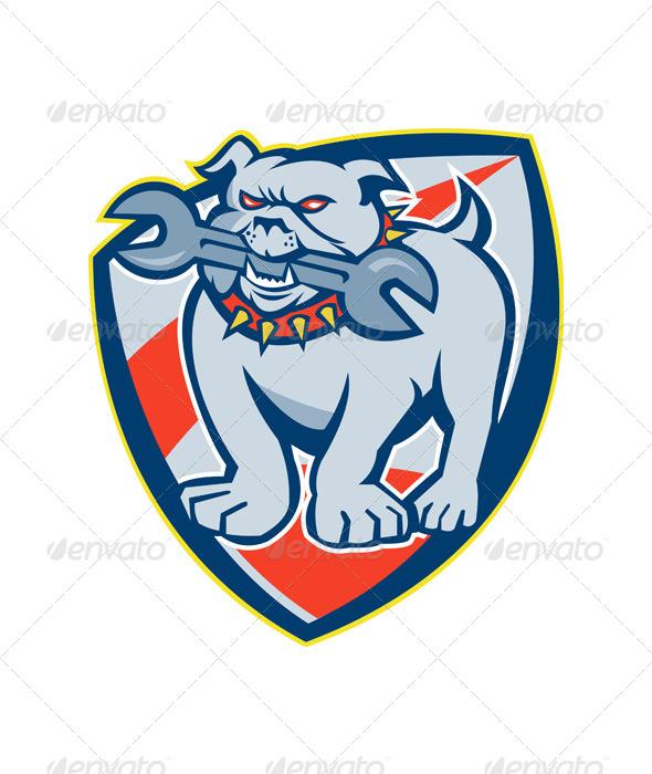 GraphicRiver Bulldog Spanner Mascot Shield 5644150