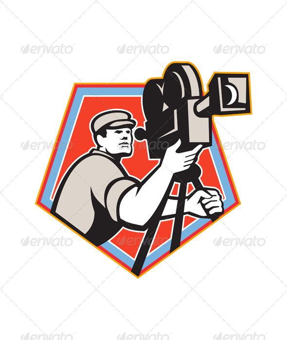 GraphicRiver Cameraman Vintage Film Reel Camera Retro 5644163