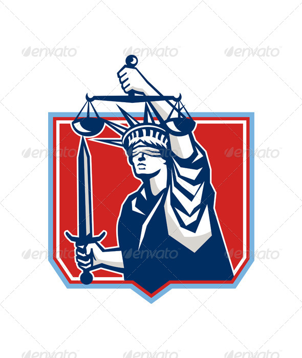 GraphicRiver Statue of Liberty Wielding Sword and Scales 5644215