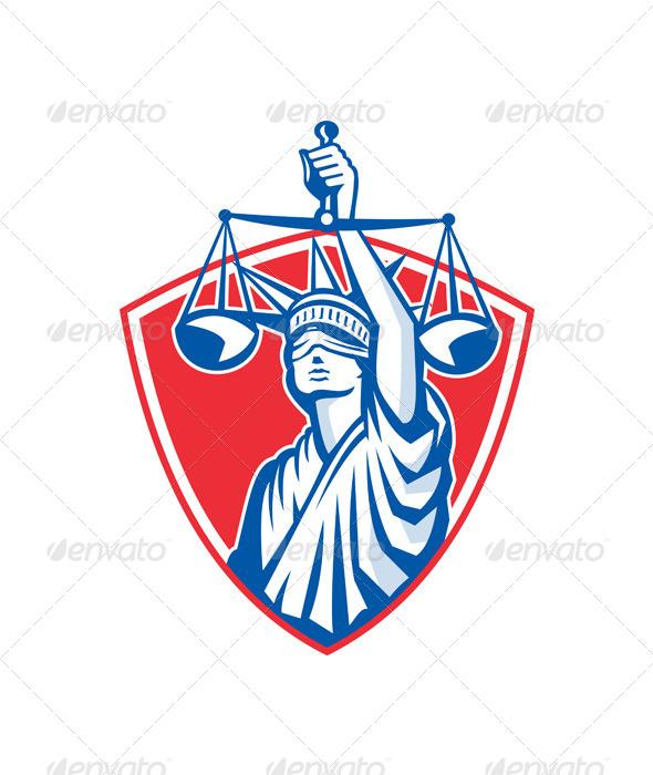 GraphicRiver Statue of Liberty Raising Justice Scales Retro 5644219