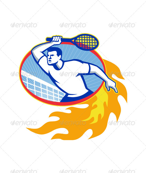 GraphicRiver Tennis Player Racquet Retro 5644288