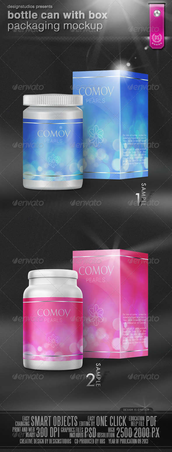 GraphicRiver Bottle Can With Box Packaging Mock-Up 5628077