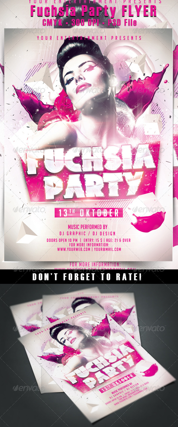 Fuchsia Party Flyer - Events Flyers