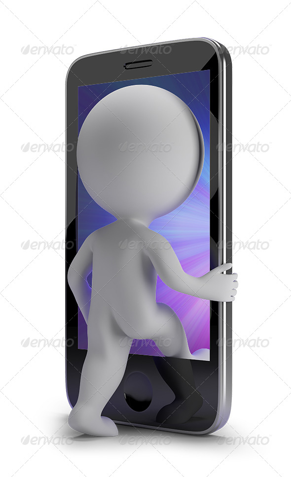 GraphicRiver 3D small people login to your phone 5645392