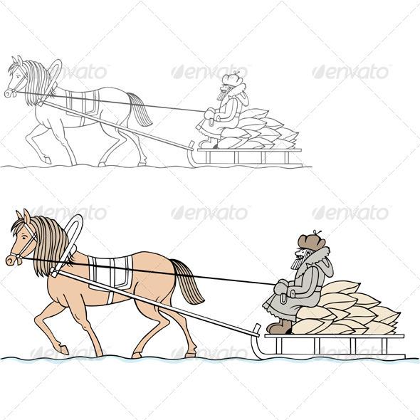 GraphicRiver Farmer Sledding in Winter 5645427