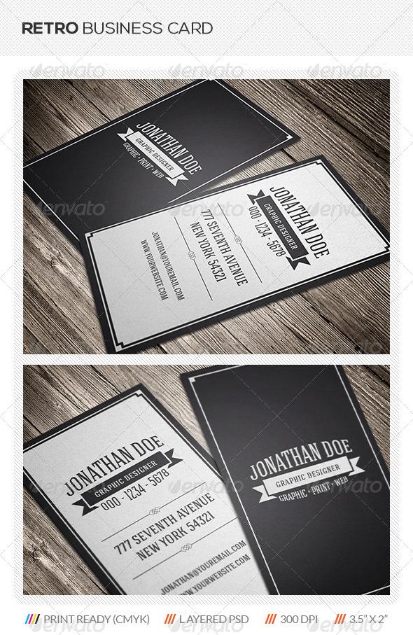 Retro business card graphicriver for Retro business card template