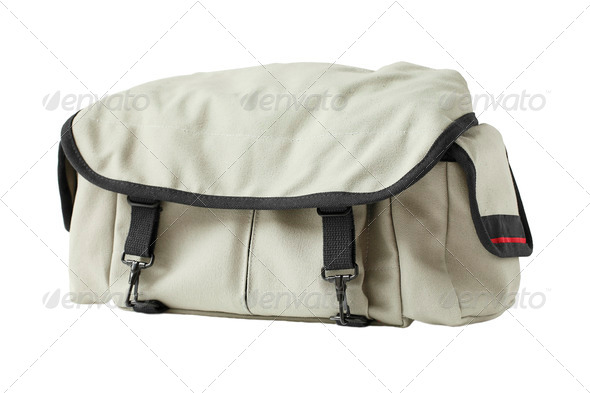 Gray canvas shoulder bag isolated on white background - Stock Photo - Images