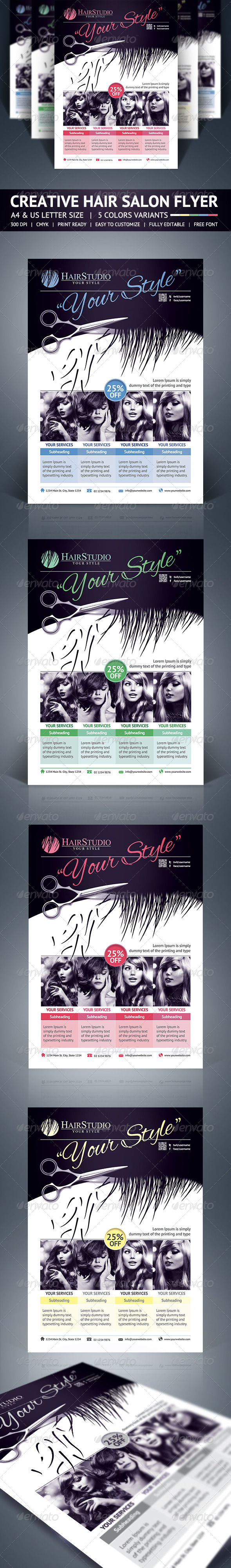 GraphicRiver Hair Salon Flyer 5646223