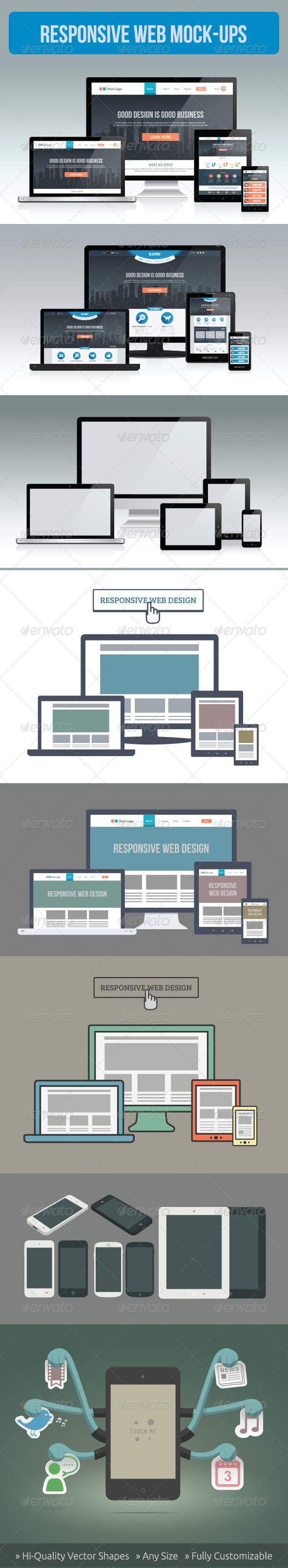 GraphicRiver Responsive Screen Mockup Set 5625078