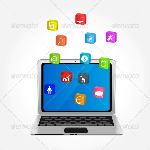 GraphicRiver Computer with Icons Vector Illustration 5646554
