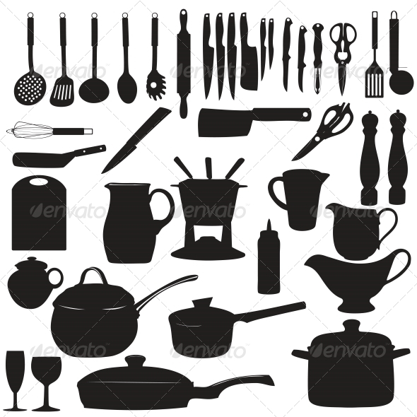 GraphicRiver Kitchen Tool Silhouettes 5646606