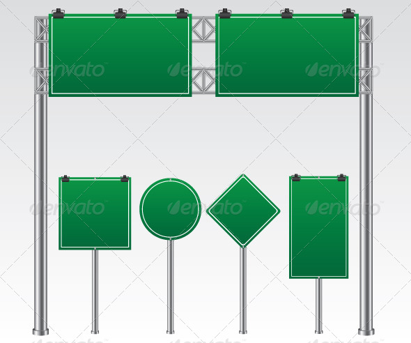 GraphicRiver Green Road Sign Illustration 5646786