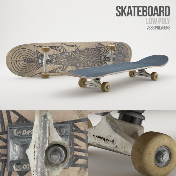 3DOcean Low Poly Skateboard 5647275