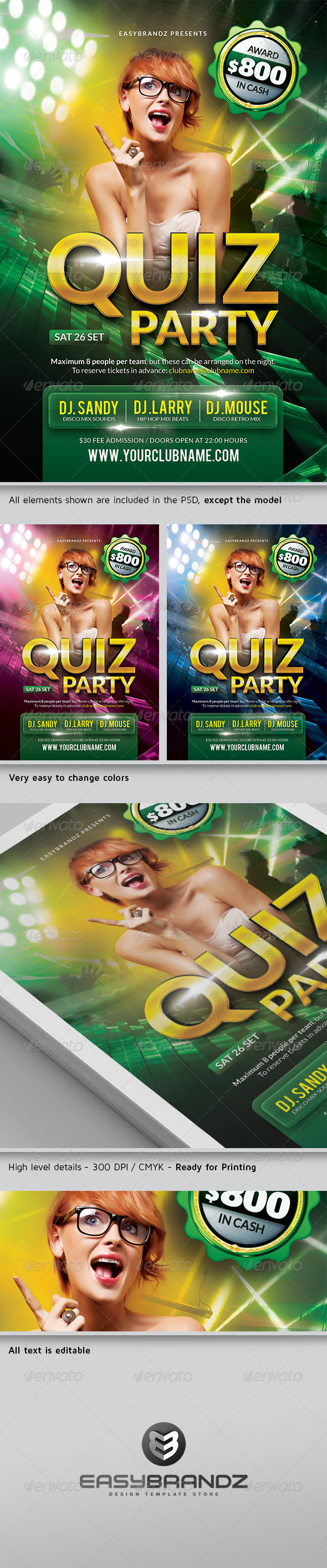 Quiz Party Flyer Template  - Clubs & Parties Events