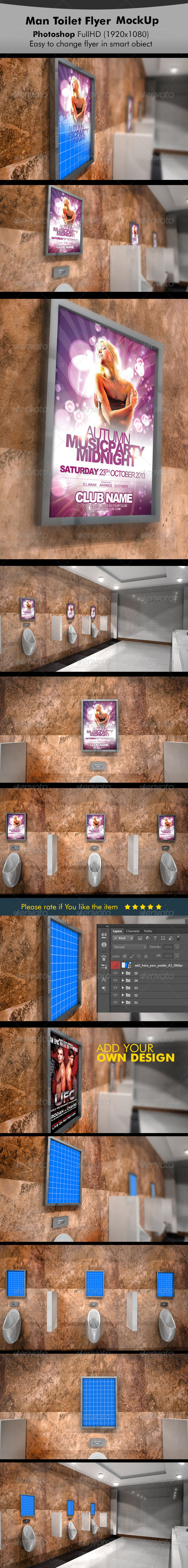GraphicRiver Men Toilet Flyer Poster Mockup 5640275