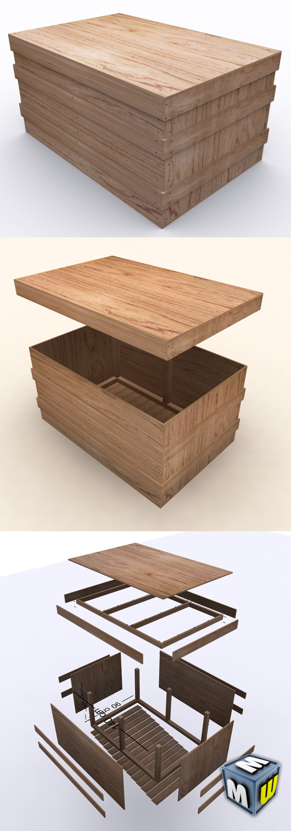 "Wooden Case ""BOX"" - 3DOcean Item for Sale"