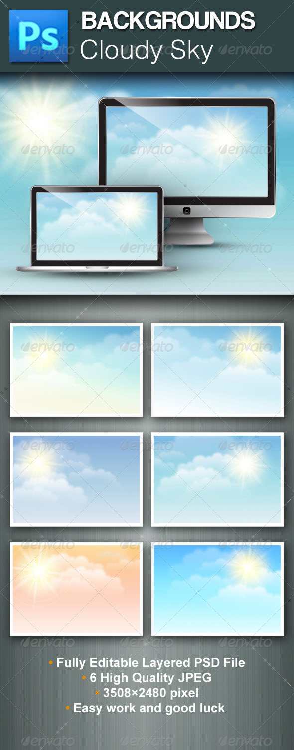 GraphicRiver Cloudy Sky PSD Backgrounds 5435729
