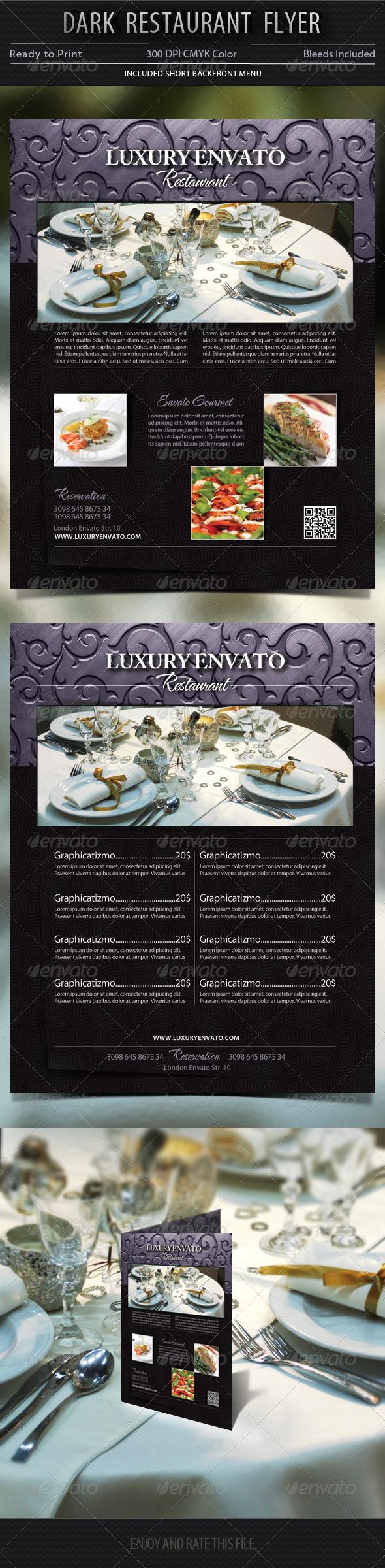 GraphicRiver Dark Restaurant Flyer Template 5649420