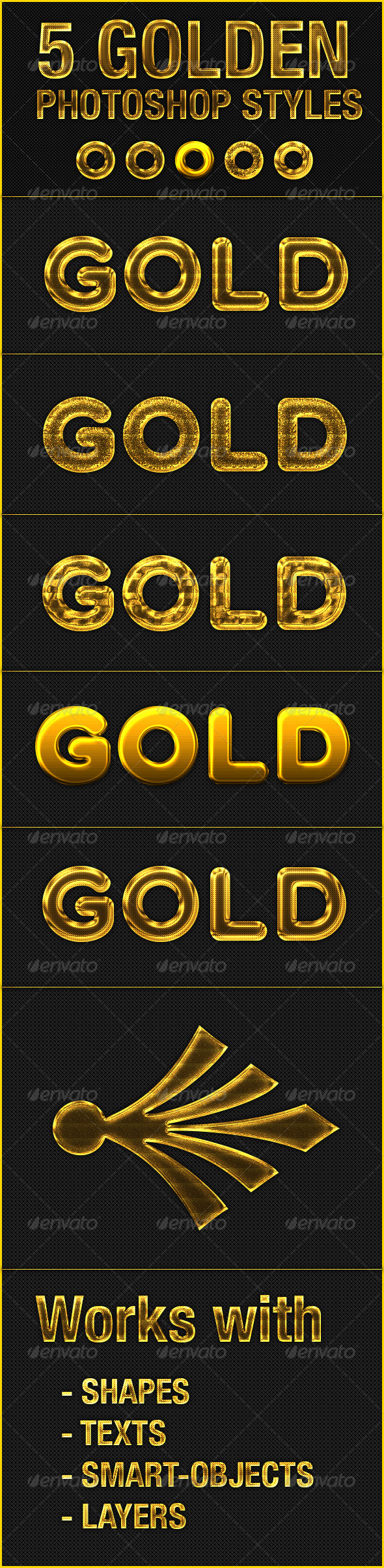 GraphicRiver 5 Gold Text Effect Photoshop Style 5649449