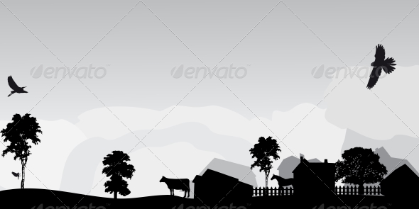 GraphicRiver Grey Landscape with Trees and Village 5649723